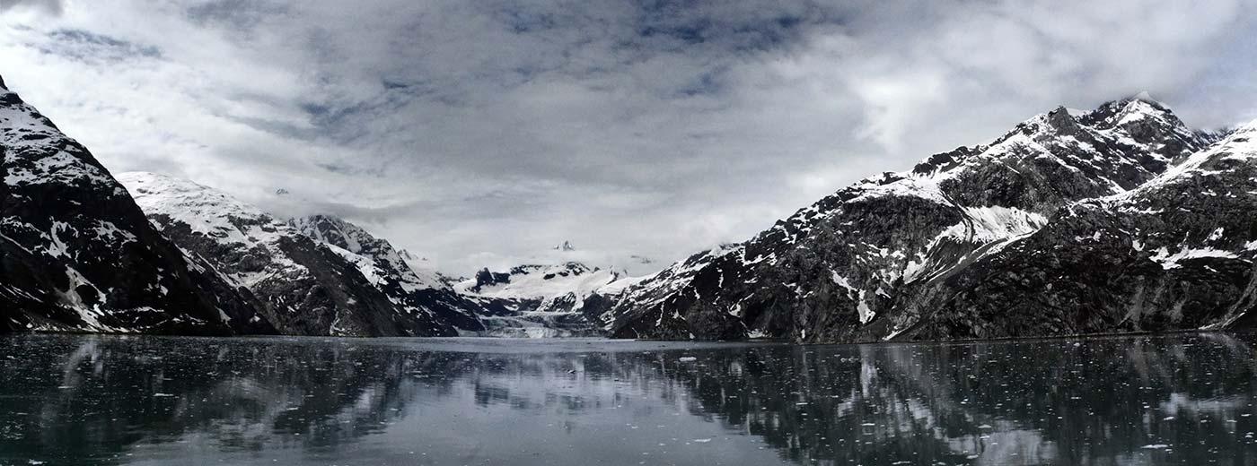 Winter Mountain Landscape on Lake