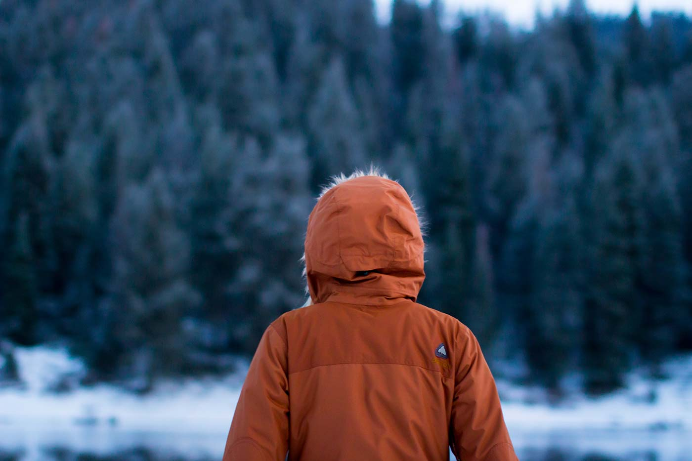 Woman in Parka Staring On